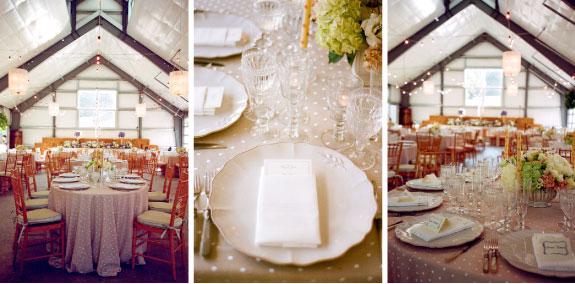 obrus w kropeczki, dekoracje okrągłych stołów, elgancki obrus na okrągły stół, okrągły stół na ślub