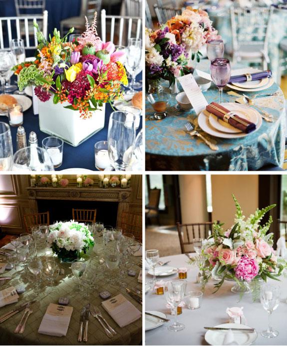 okragłe stoły, niskie aranżacje kwiatowe, aranżacje na okrągły stół, jak udekorowac okrągły stół