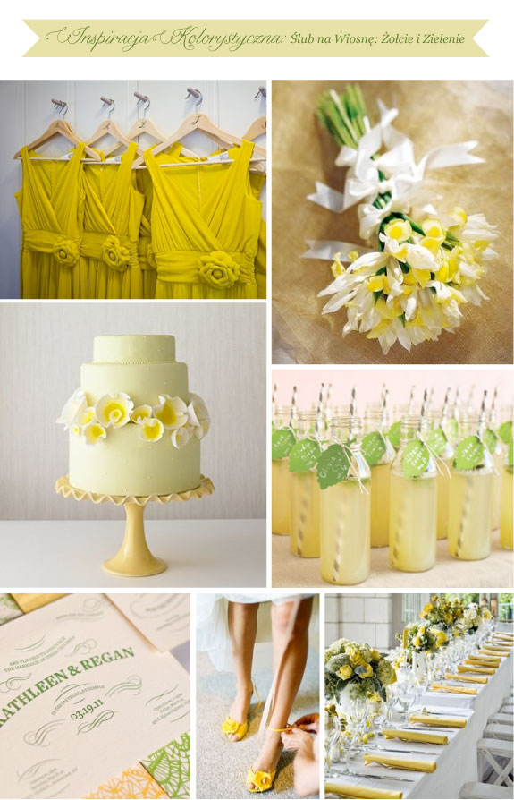 Ślub na wiosnę, żółcie i zielenie