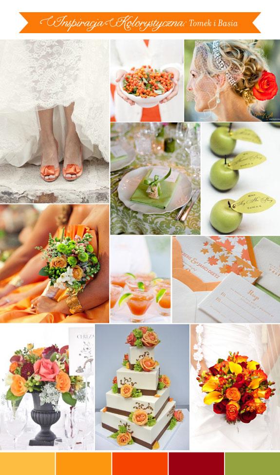Pomomarańczowy i zielony na ślubie. Zieleń z pomarańczem na stołach