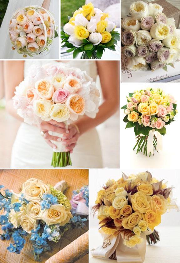 Bukiet z róż w delikatnych odcieniach żółtego