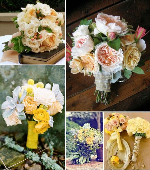 Bukiety ślubne z róż w pastelowych odcieniach
