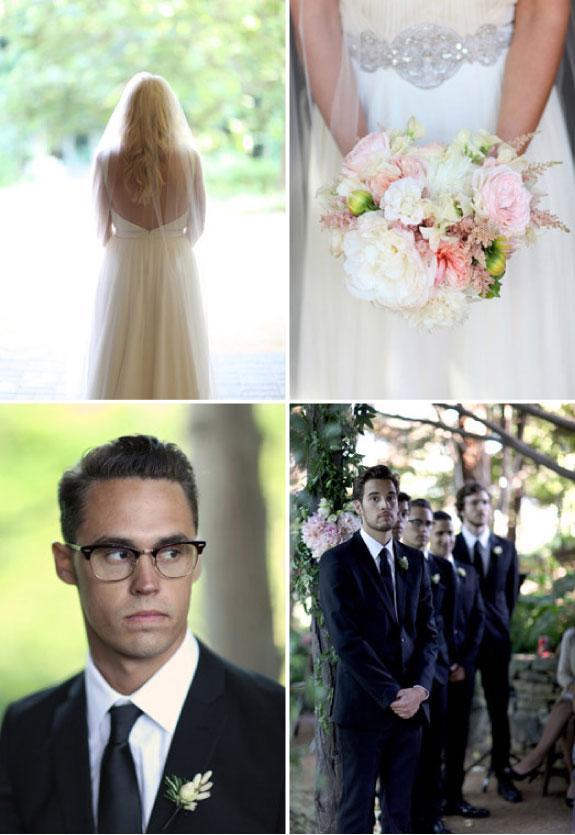 panna młoda, pan młody, drużba, bukiet na ślub, vintage