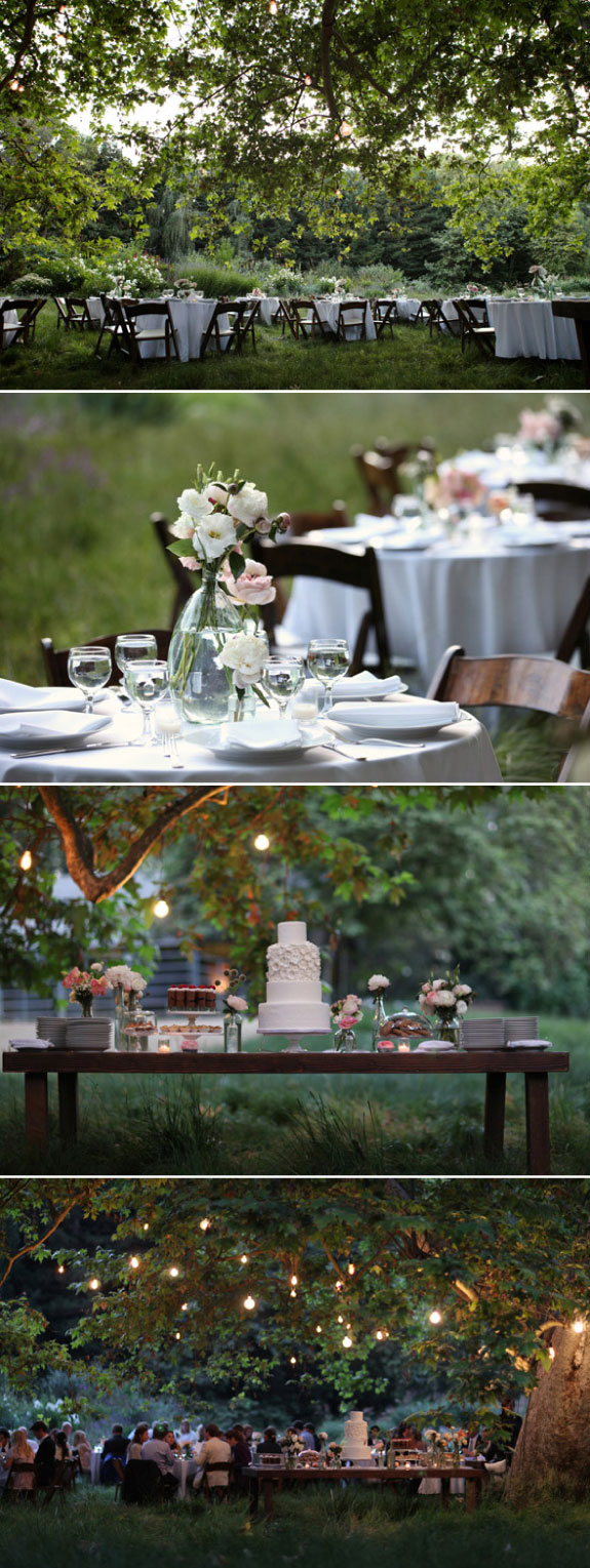 angielski ogród, ślub w ogrodzie, dekoracja stołów