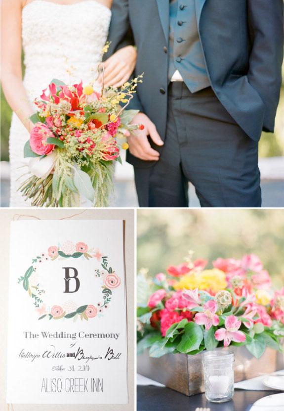 kolorwe kwiaty na ślubie