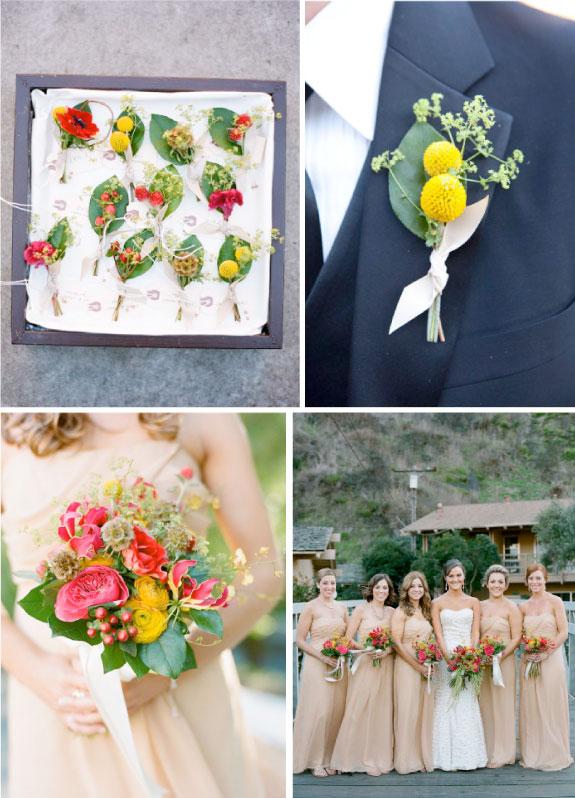 Butonierka z kwiatów, kolorowy bukiet ślubny