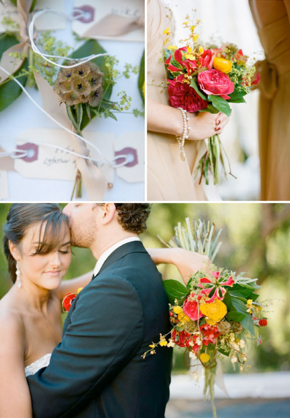 Pięknie dobrane kolorowe kwiaty w bukiecie ślubnym