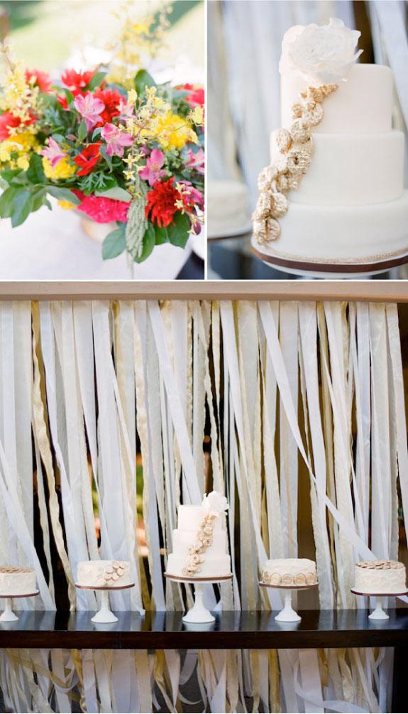 Kolorowe kwiaty i pomysł na tort weselny