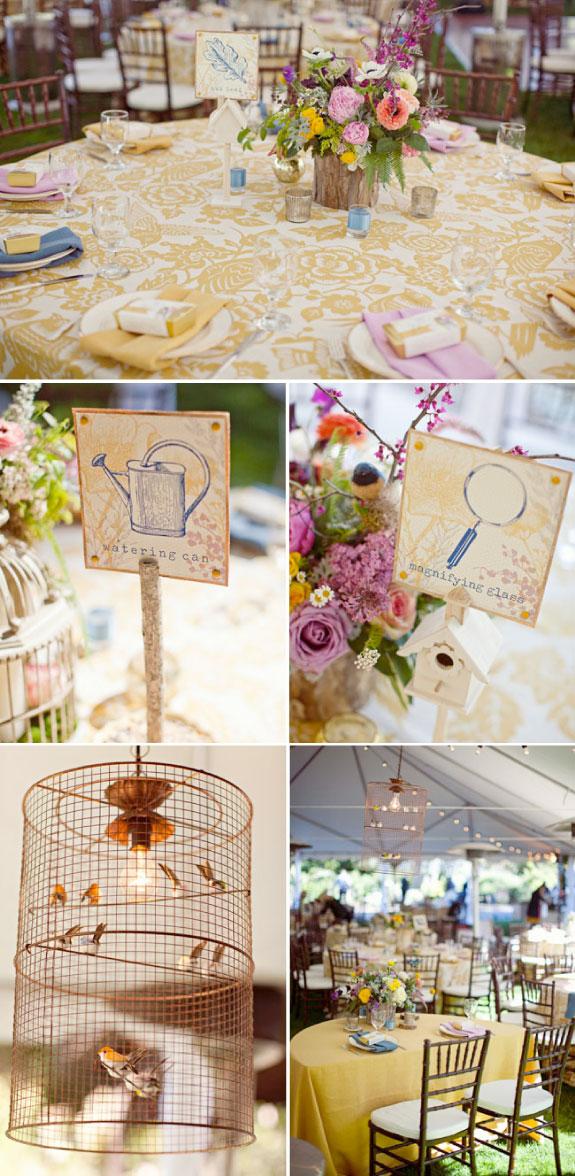 Dekorowanie okrągłych stołów, okrągłe stoły na weselu w ogrodzie