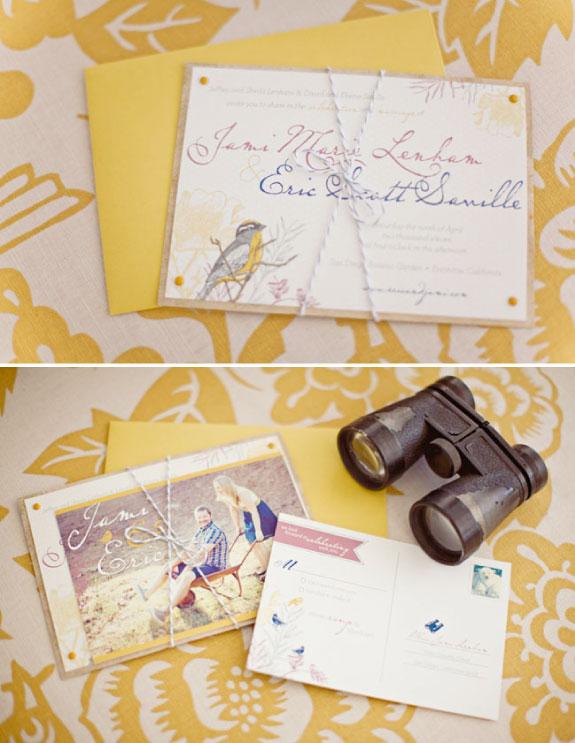 Żółte zaproszenia ślubne, papeteria ślubna
