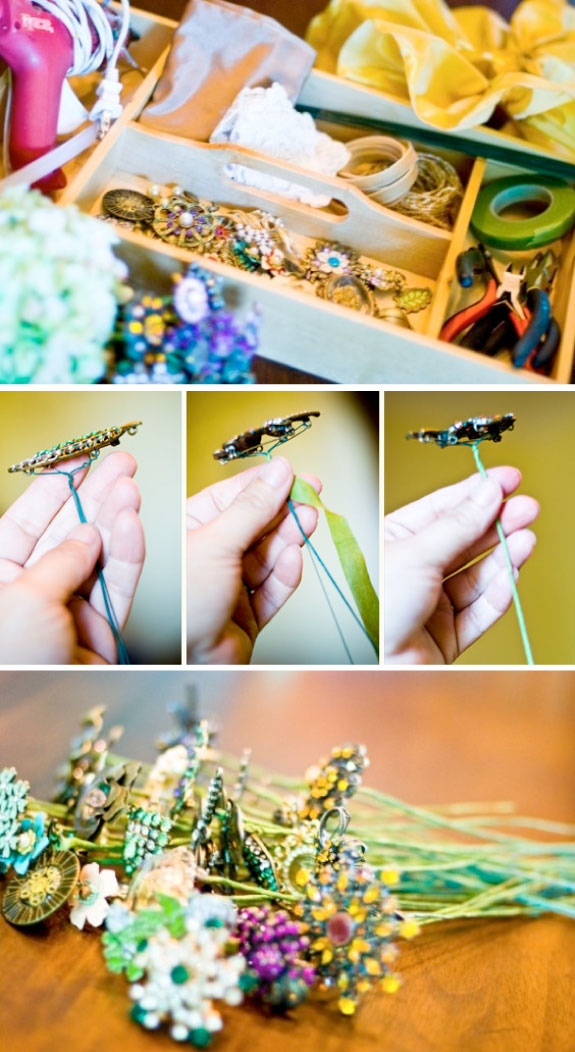 Oryginalne bukiety ślubne, bukiety z biżuterii