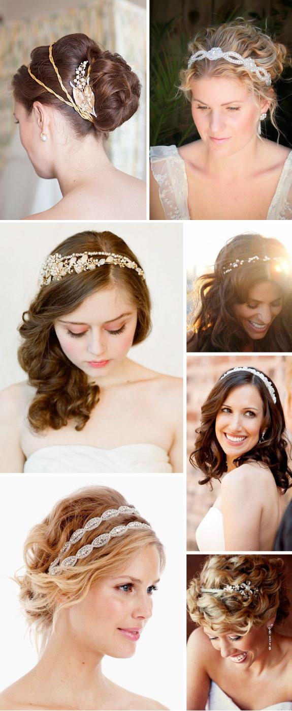 Eleganckie opaski we włosach na ślub, upięcia włosów