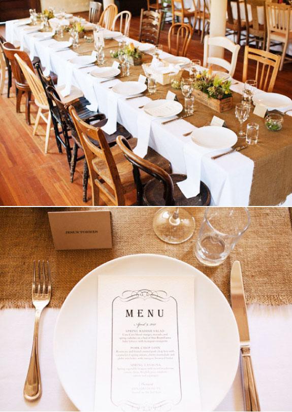 Elegancka dekoracja podłużnych stołów