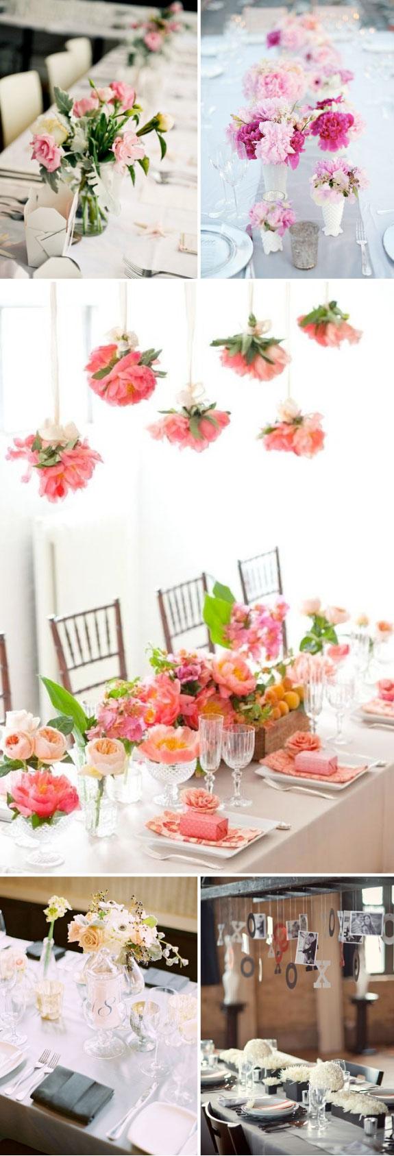 Kwiaty na stołach, podłużne stoły, dekoracje na stołach