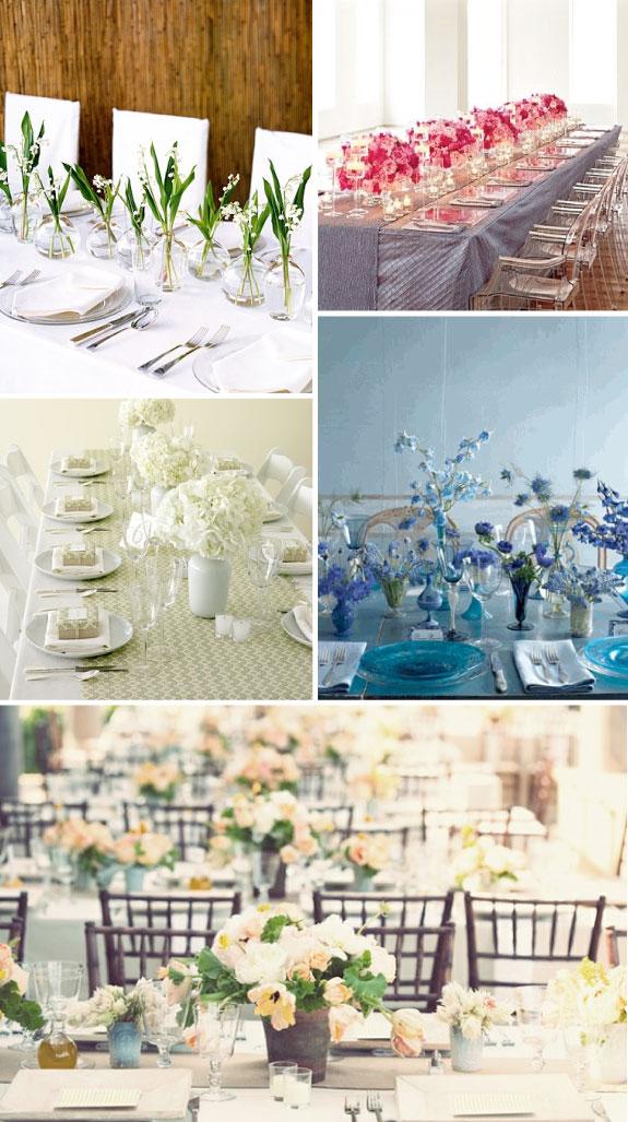 Jak udekorować podłużne stoły, kwiaty na podłuznych stołach