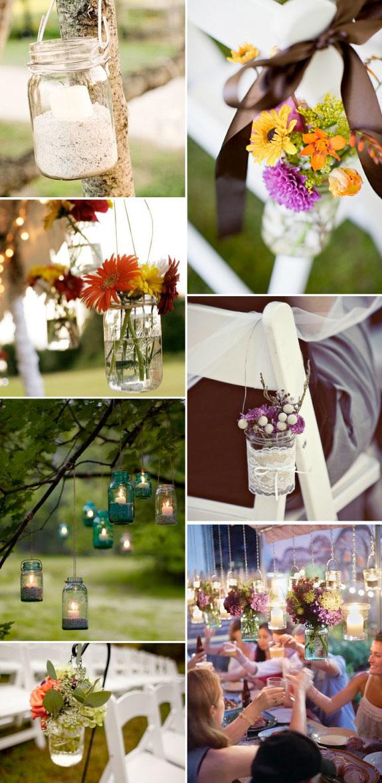 Szklane słoiczki na weselu, kwiaty w słoikach na ślubie