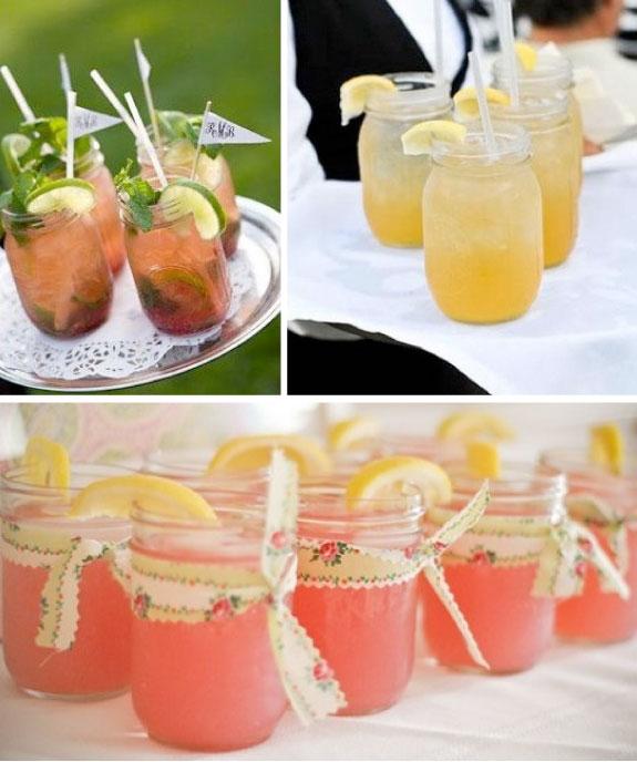 Słoiczki na ślubie, napoje w słoiczkach