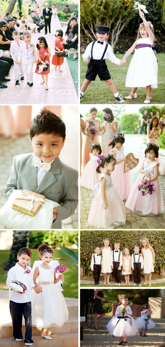 Dziewczynki z kwiatami na ślubie, chłopcy na ślubie