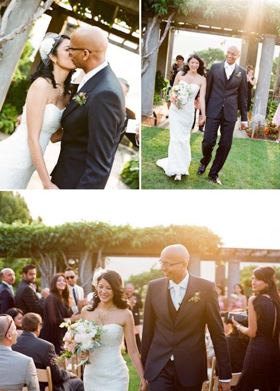Państwo Młodzi na ślubie w ogrodzie