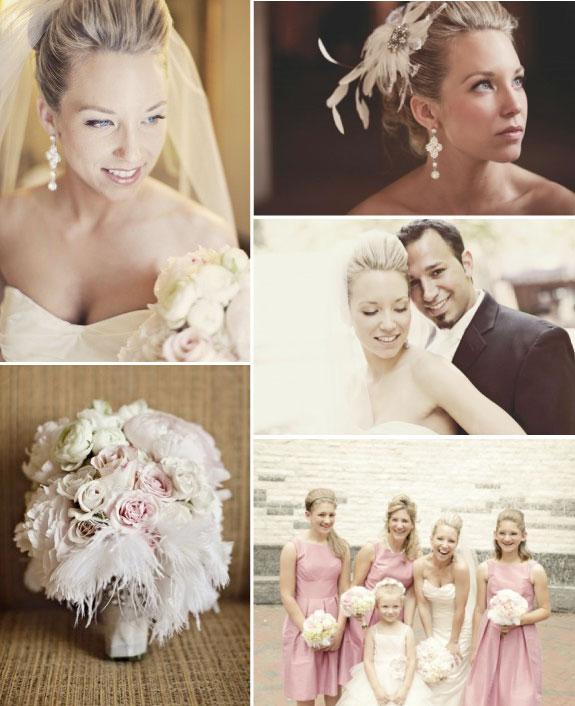 Piękne ozdoby z piór na ślubie