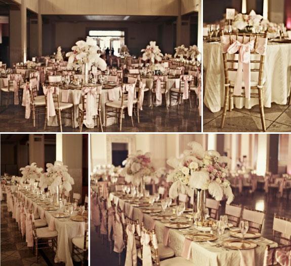 Pięknie udekorowana sala na wesele z wykorzystaniem piórek