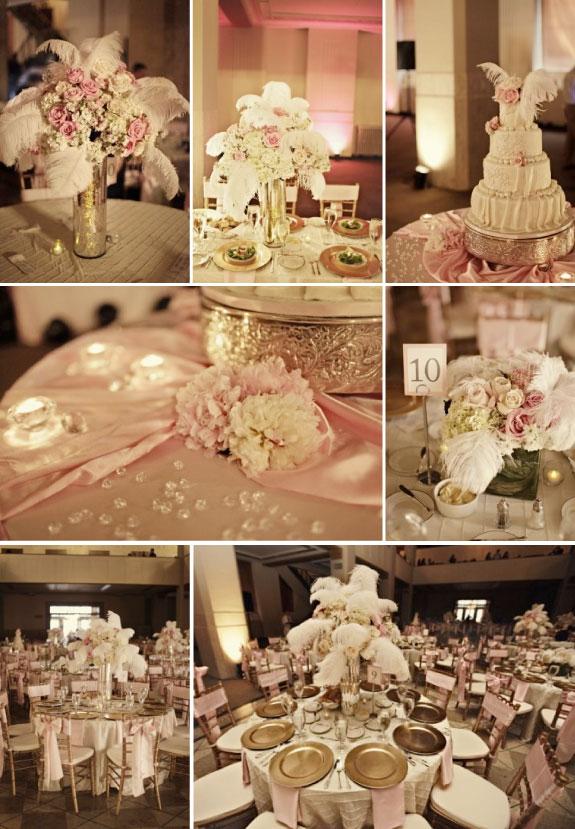 Dekoracje kwiatowe z piórkami na stołach ślubnych