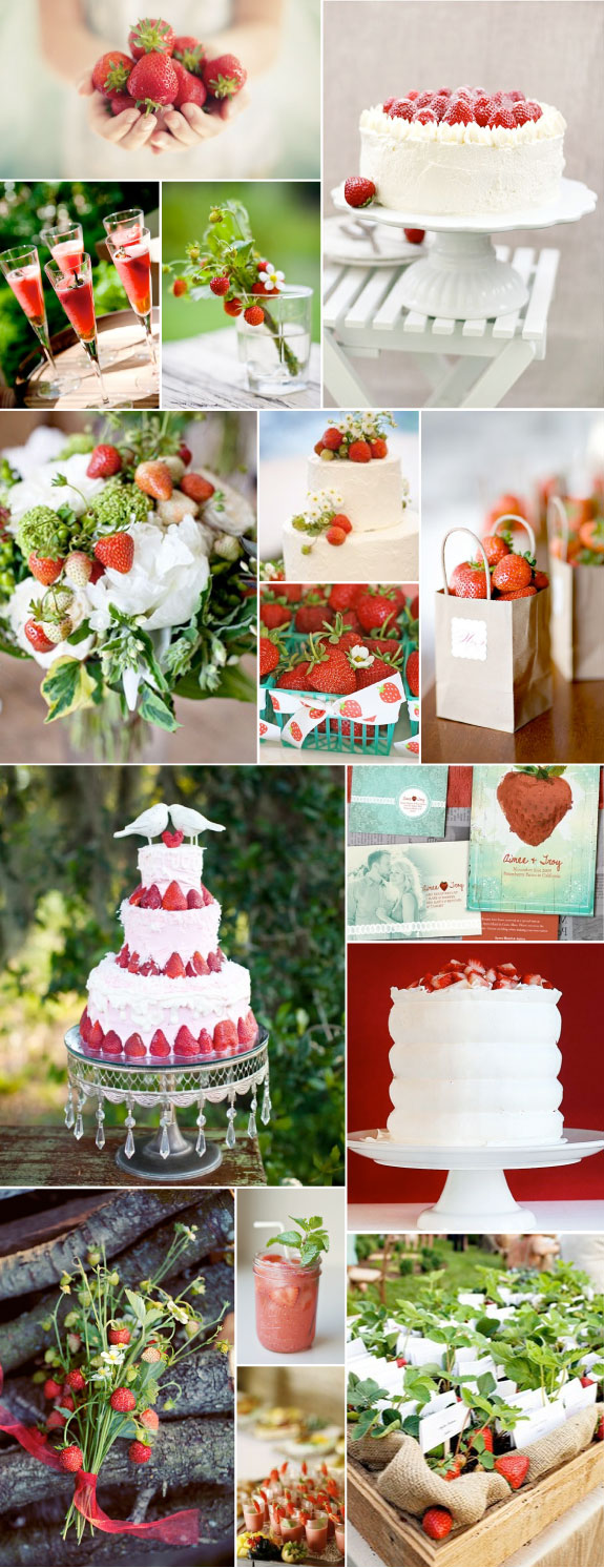 strawberries in wedding decor, cakes and bouquets