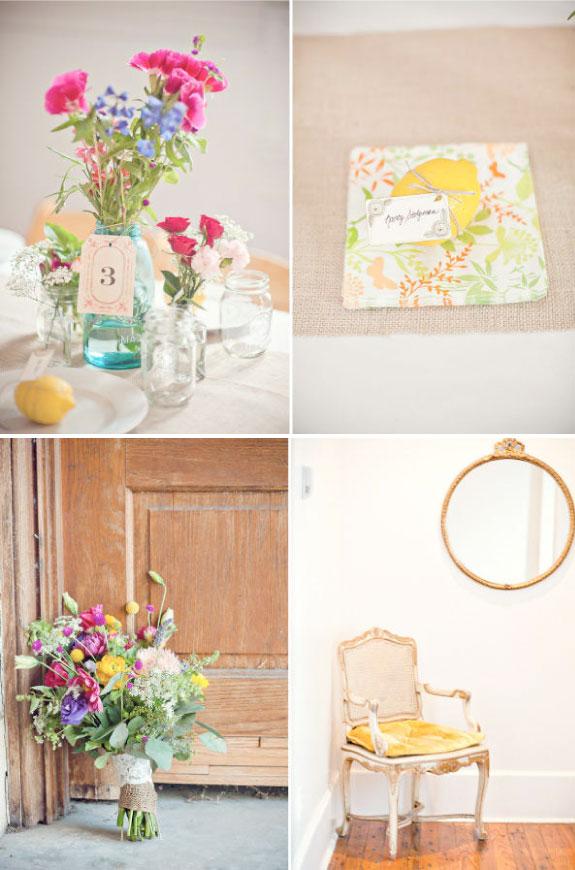 Kolorwe bukiety na stołach, pięknie udekorowane stoły na ślubie