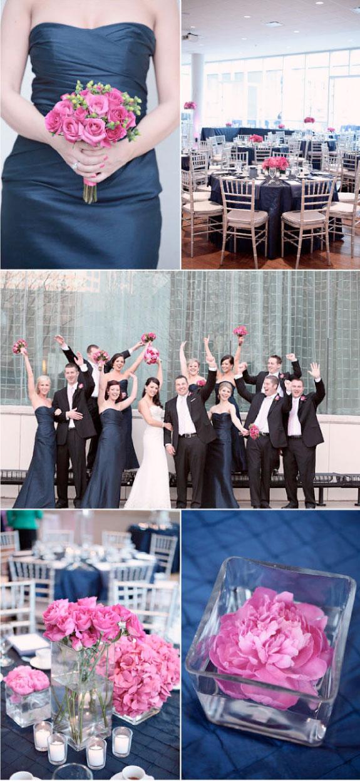 Różowe kwiaty na ślubie, dekoracja okrągłych stołów