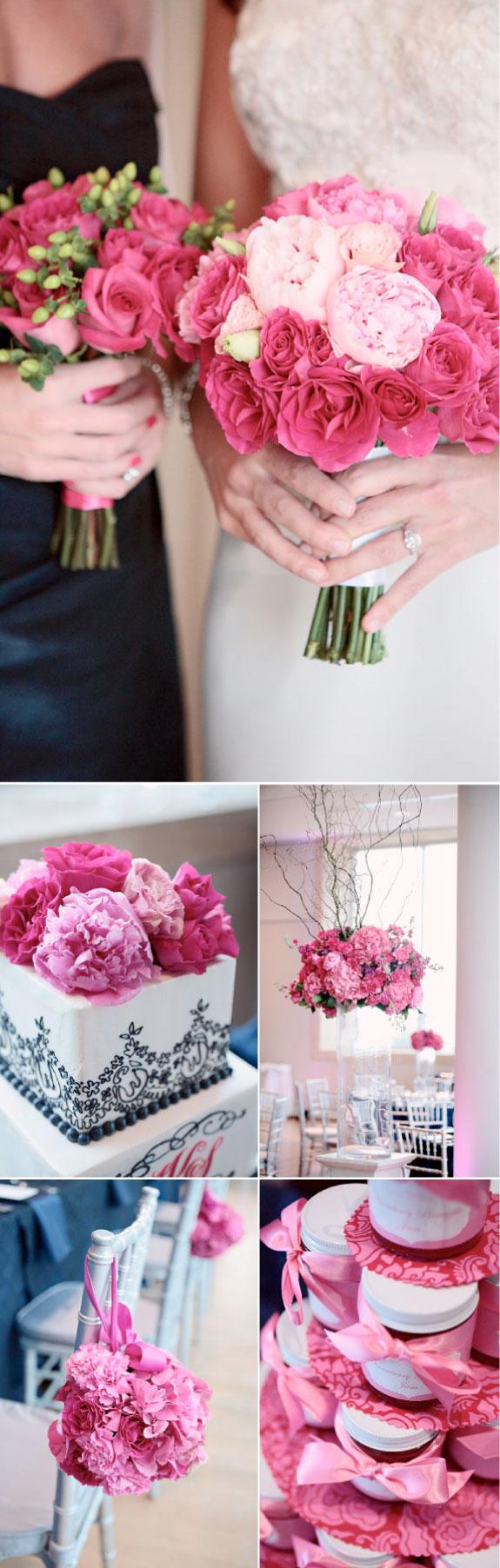 Bukiet ślubny z jasnoróżowych róż, dekoracje na ślubie z róż