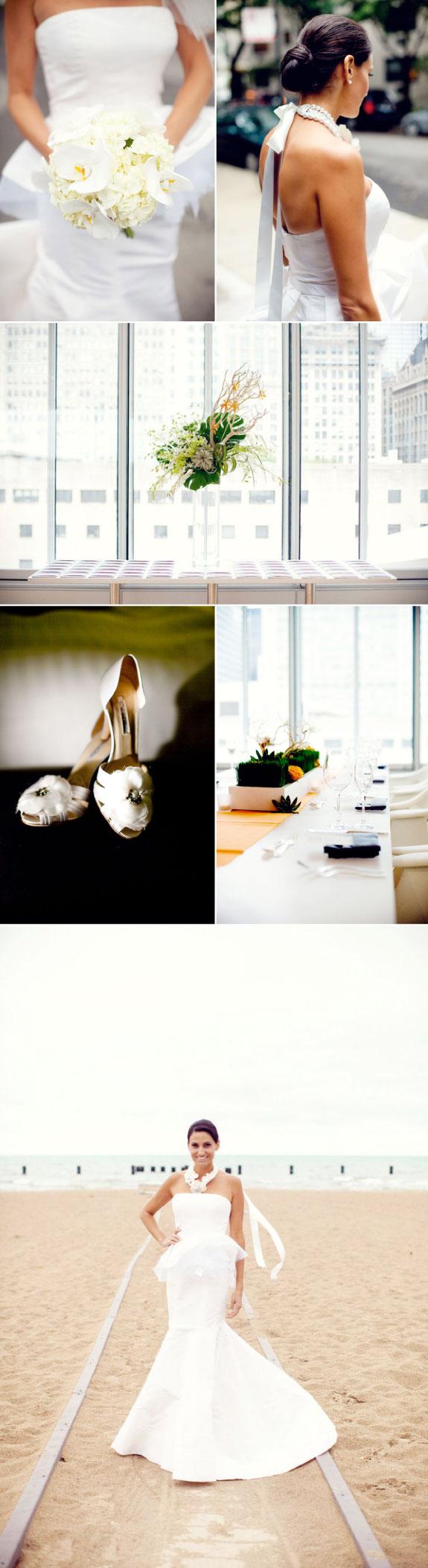 Biały bukiet ślubny na nowoczesnym ślubie