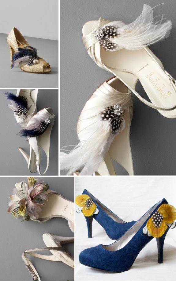 Trendy w butach ślubnych - piórka