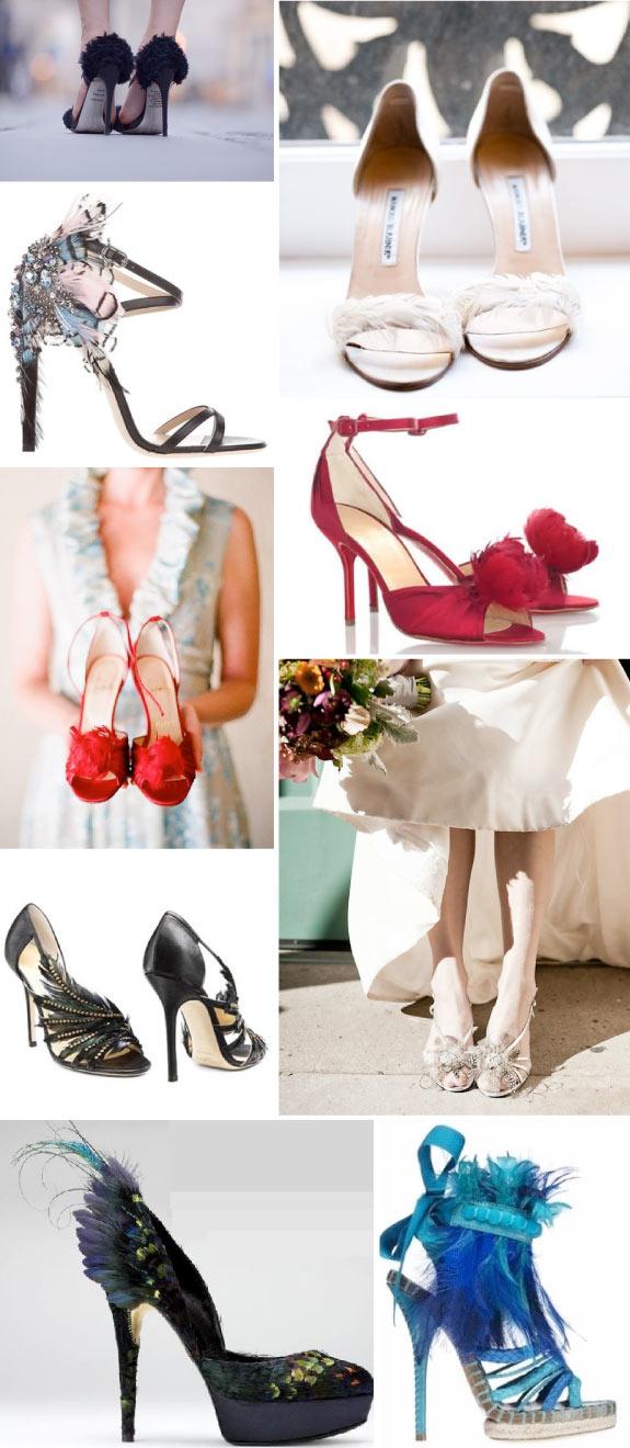 Dodatki z piór do butów ślubnych
