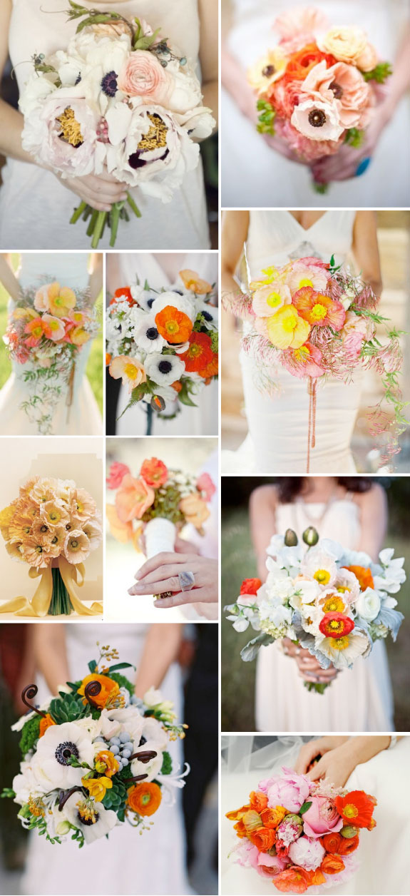 Letnie bukiety ślubne, maki w wiązankach ślubnych