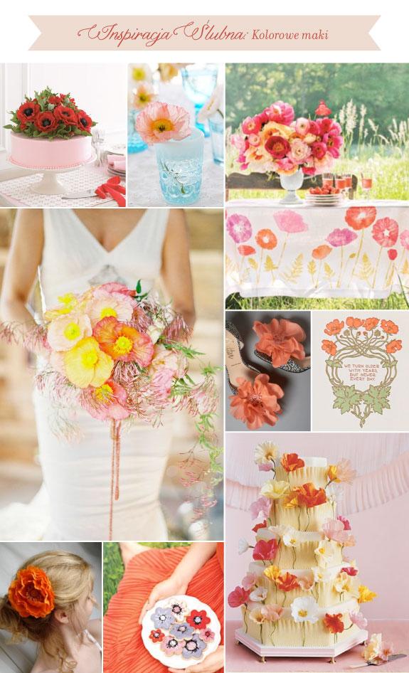 Eleganckie wiązanki ślubne, kolorowe maki