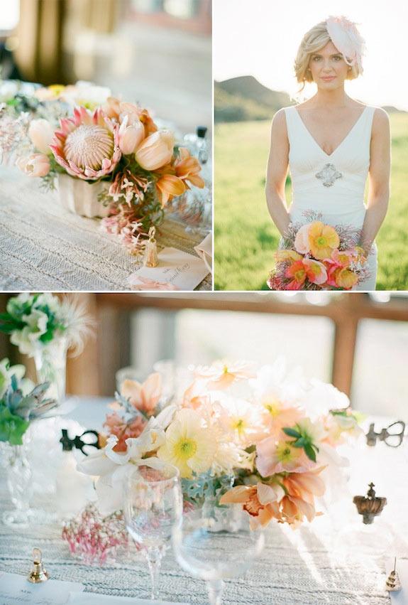 Wiązanka ślubna z maków, dekoracje z maków na stole weselnym