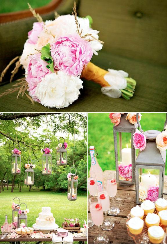 Dekoracje stołów ślubnych na ślubie w ogrodzie