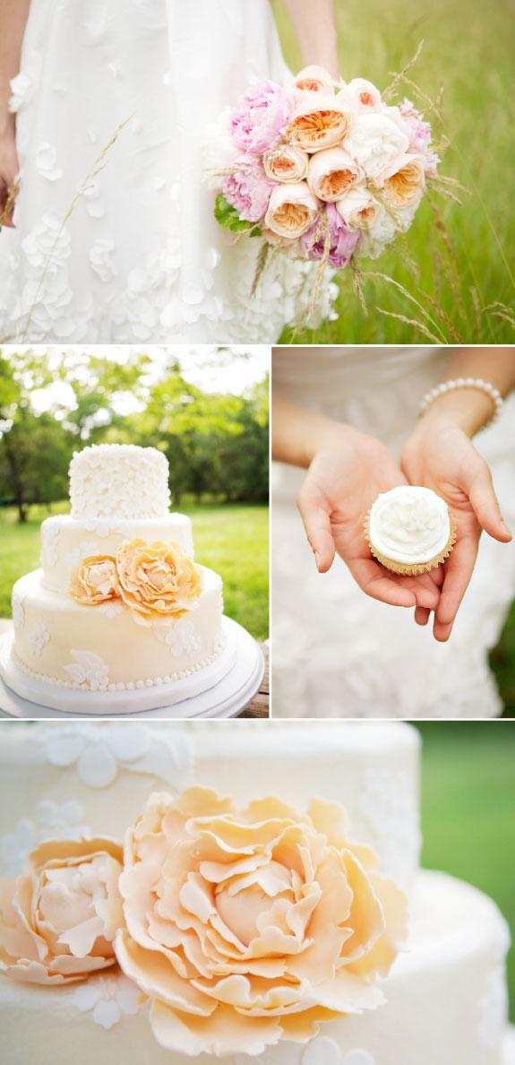 Ślub w brzoskwiniowych kolorach w lecie