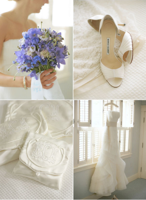 Ślub pełny niebieskich i białych dodatków
