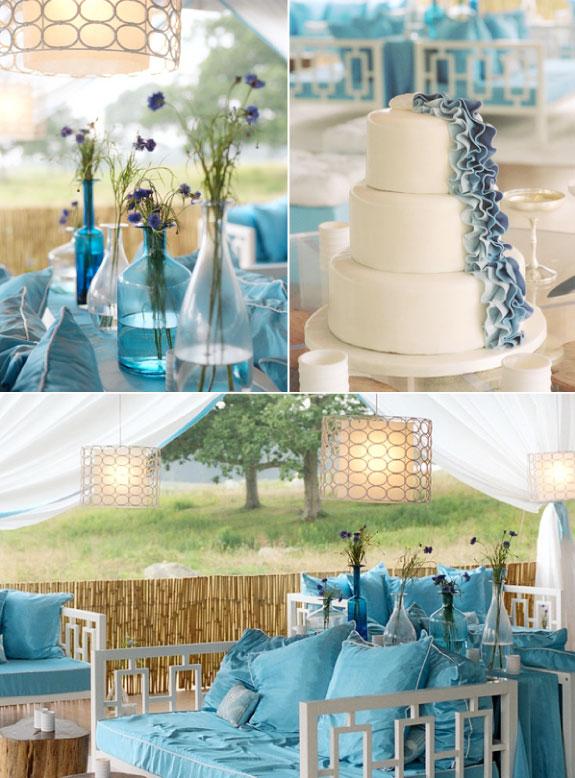 Wspaniałe wesele w niebieskim stylu