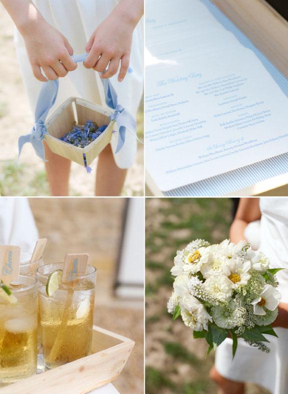 Niebieski ślub z białymi dodatkami