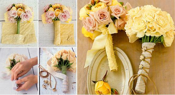 Wykończenie bukietu ślubnego z materiału i wstążki
