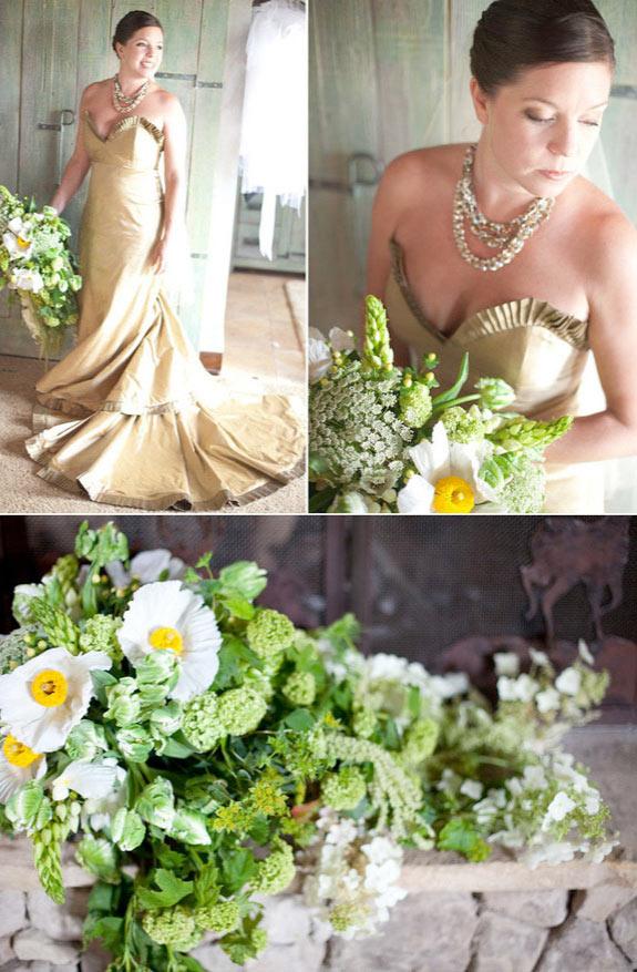 Żółto zielony bukiet ślubny