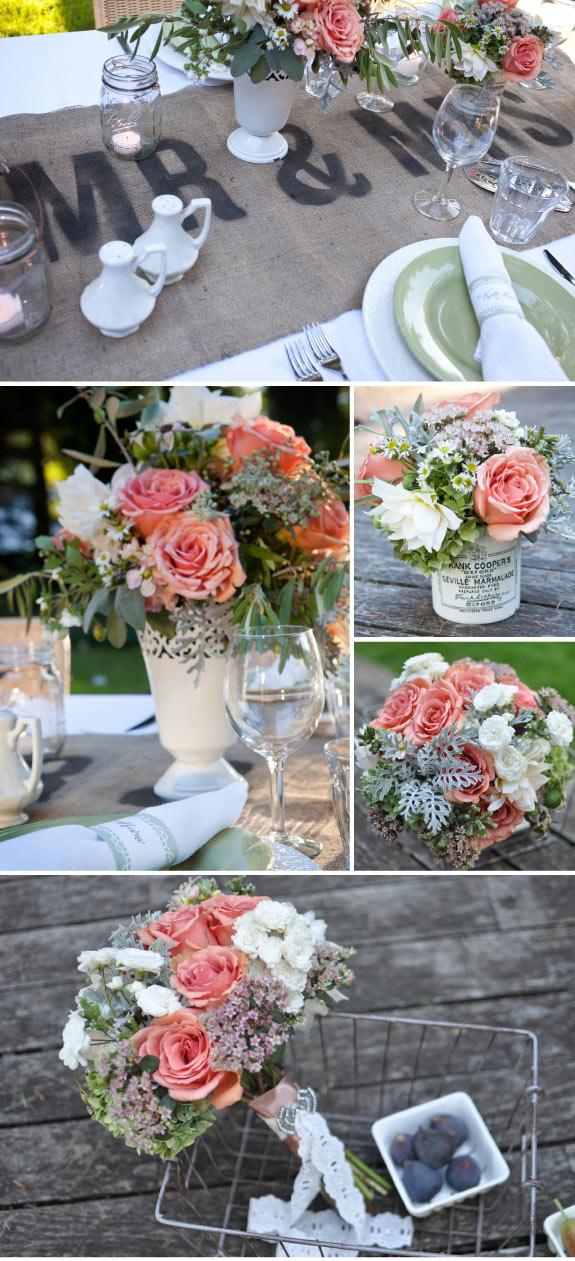 Dekoracje ze szklanymi słoiczkami na stole