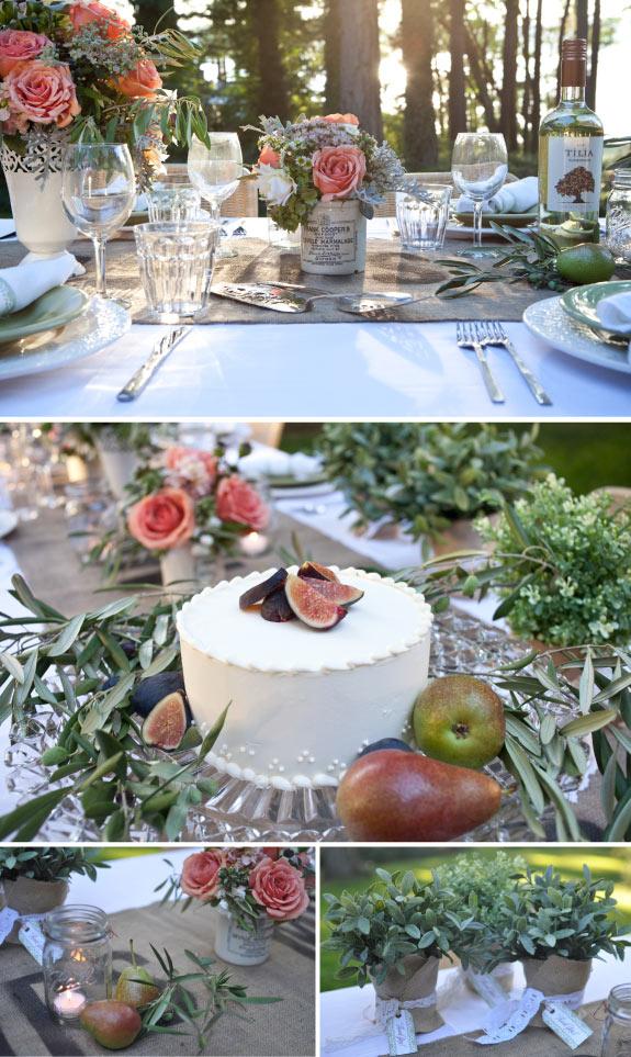 Brzoskwiniowe róże na stole weselnym