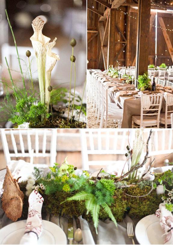 Ręcznie wykonane dekoracje na stołach weselnych