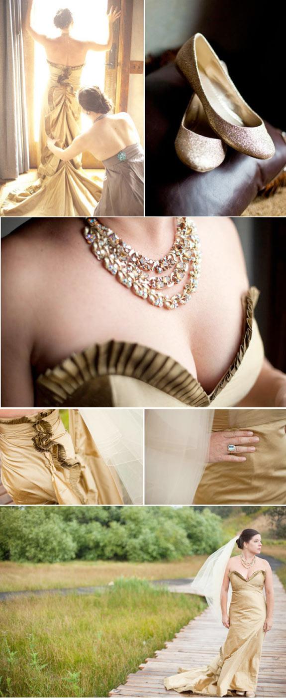 Suknia ślubna w złotym kolorze i balerinki