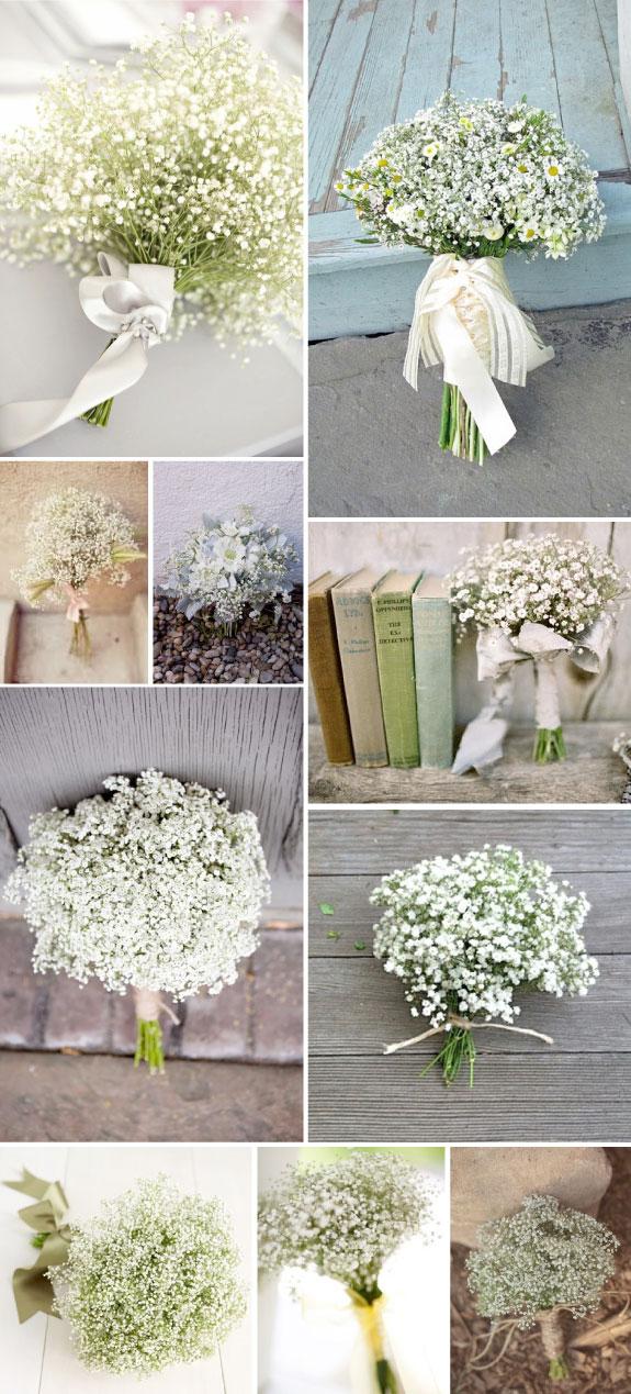Delikatne małe kwiaty gipsówki w bukiecie ślubnym