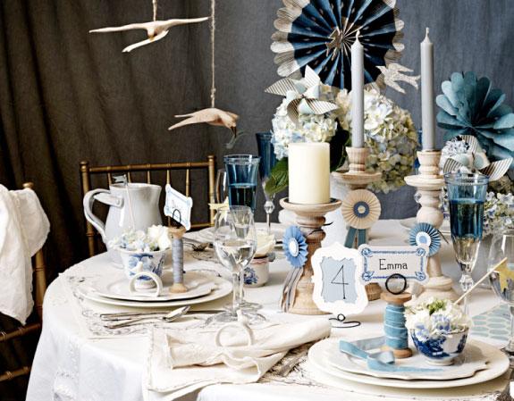 Wiosenne Aranżacje Stołów, Biało Niebieskie Dekoracje Stołów