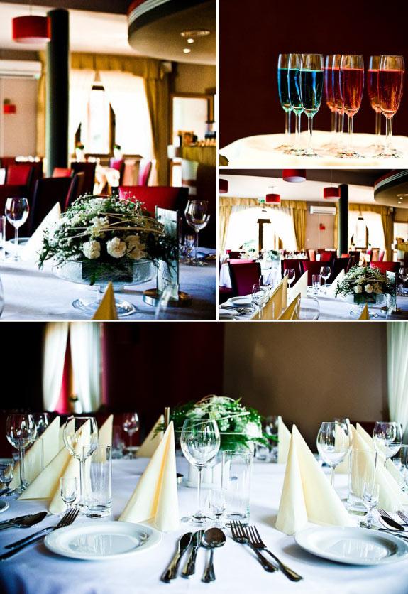 Białe obrusy i klasyczna zastawa oraz sztućce na weselu